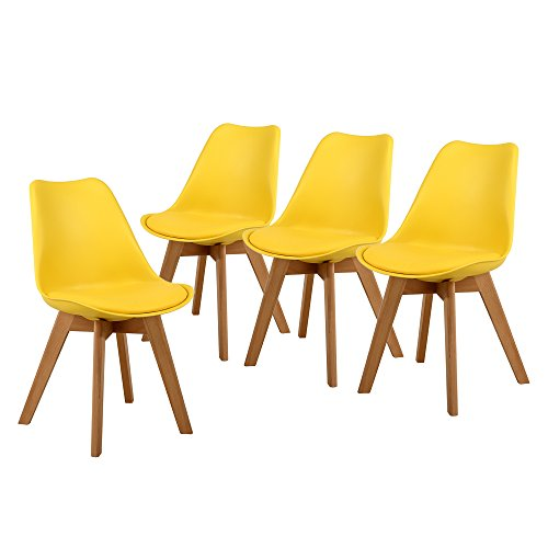 NOBPEINT Eames-Style Mid Century Dining Chairs,Set of 4(Yellow)