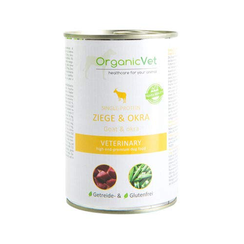 ORGANICVET Hund Nassfutter Veterinary Single-Protein Ziege und Okra, 6er Pack (6 x 400 g)