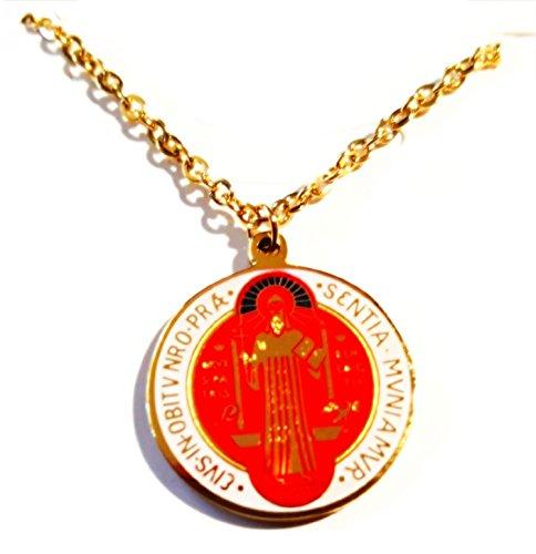 R8 - Collar con medalla de San Benito de protección colorida, chapado en oro de 18 quilates, estilo vintage, para hombre y mujer