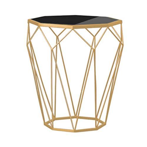 Tables basses Table De Chevet Chambre Petite en Verre Trempé Table De Chevet en Fer Forgé Côté Canapé Cadeau (Color : Gold, Size : 46 * 46 * 56cm)