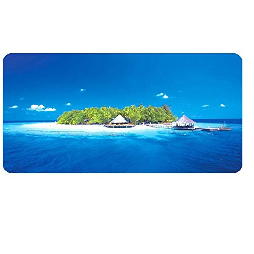 STDNJQ tapete escritorio mousepad Hermoso paisaje de la isla del cielo azul del océano 800x300x3mm/31.5x11.8x0.118 inch Superficie de tela Base antideslizante, velocidad de precisión y comodidad - Pa