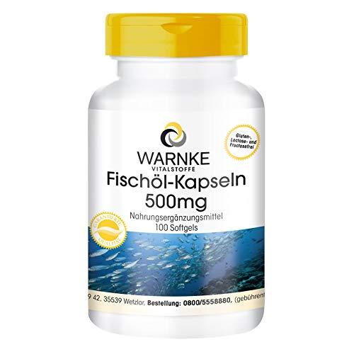 Fischöl Kapseln 500mg - Omega-3-Fettsäuren EPA + DHA - hochdosiert - 100 Kapseln