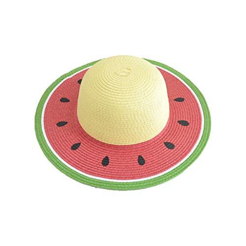 mdhsh - Sombrero de sol, para adulto, niño, summer Straw Sun Visor Hat Color Block Watermelon Shape Family Round Top Protección UV Wide Brim Beach Cap con correa de pelo 2 # Child