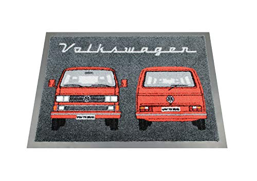 BRISA VW Collection - Volkswagen Fuß-Matte, Tür-Vorleger, Sauber-Laufmatte, Fuß-Schmutz-Abtreter-Abstreifer VW T3 Bulli Bus Design Front & Heck (Rot)