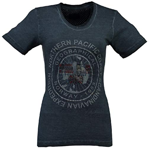 Justa Geographical Norway T-shirt pour femme - Bleu - M