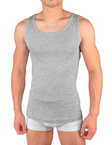4er Pack Herren Unterhemd Achselshirt Tank Top aus 100{366b5dd859bf37cdecba92602be43693f1df14198e35b23cc2dc62145257afae} Baumwolle feinripp (glatt) in weiß, grau oder schwarz (2 / M, Grau)