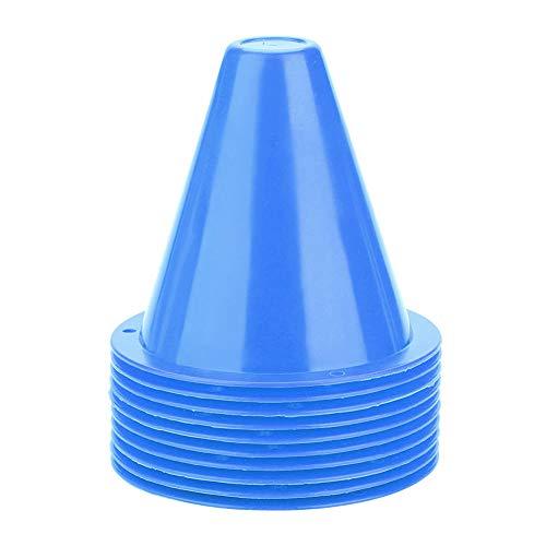 Focket 10 Stücke Fußballkegel, Kunststoff Sporttraining Verkehrskegel, Fußballkegel Training Set, Kunststoff Marker Halter Zubehör (Blau)