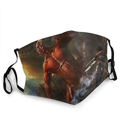 ULTPEAK Anime with Filter Pocket Face Mask Attack on Titan Eren Yeager Colossal Titan Pattern Reusable Washable Anti Dust Cover Shield for Men Womens Cosplay Bandana Breathable Balaclava Cartoon