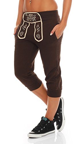 Gennadi Hoppe Damen Capri Sporthose Pant im Trachtenlook,schwarz,XS