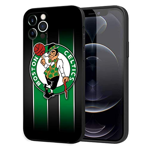 Phone Case for iPhone 12 Pro Max, Ultra-Thin Printed Acrylic Rear Panel Shockproof, with Soft TPU Bumper Military Cover for iPhone 12 Pro Max Only 6.7 inches (Celtics-Black)