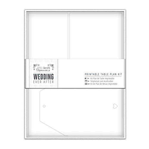 Papermania imprimables pour Plan de Table de Mariage en Forme de cœur Blanc