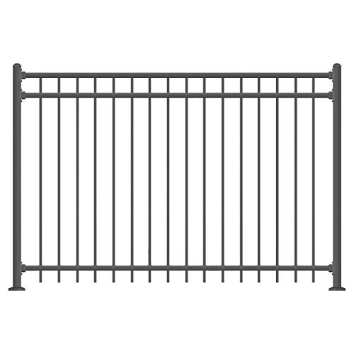 XCEL - Black Steel Anti-Rust Fence Panel - Flat End Picket - 6.5ft W x 5ft H - Easy Installation Kit, Outdoor Residential Fencing for Yard, Garden, Concrete, 3-Rail Metal Fence, Include a Fence Post