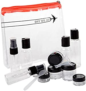 Miamica TSA Compliant Travel Bottles and Toiletry Bag Kit, 15 piece