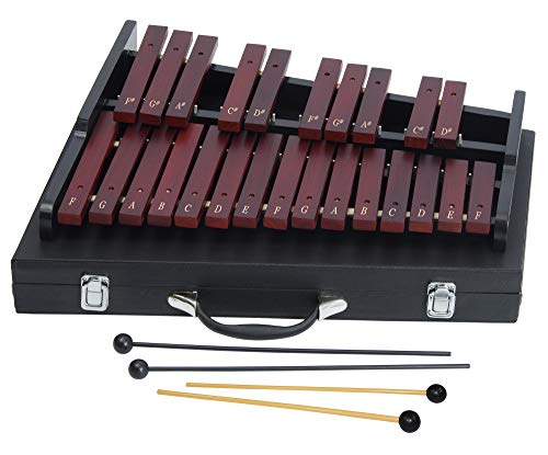 25-note Wooden Xylophone for Adults - Xylophone in a hard case - 4 mallets - Musical Songs for Beginners