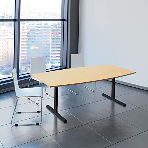 EASY Konferenztisch Bootsform 200x100 cm Buche Besprechungstisch Tisch, Gestellfarbe:Anthrazit