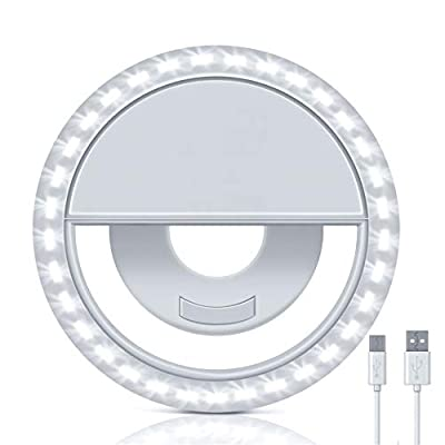 Selfie Ring Light, Rechargeable Led Clip-on Right Light, Portable Selfie Fill Light with 3 Level Brightness for iPhone, iPad, Camera, Laptop, Video (White) from Moons