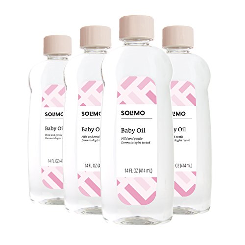 Amazon Brand - Solimo Baby Oil, Mild & Gentle, Dermatologist Tested, 14 Fluid Ounces (Pack of 4)