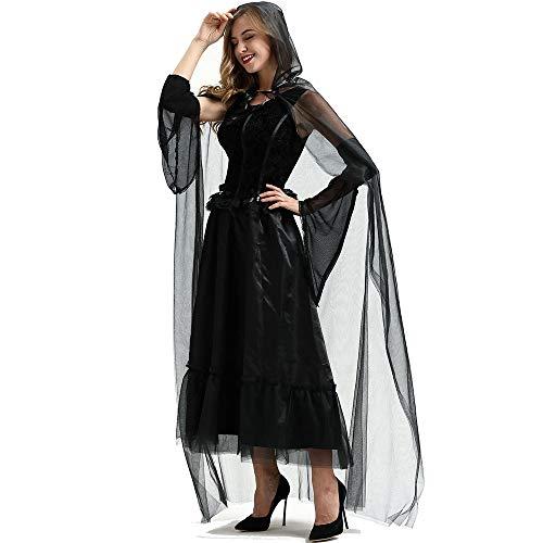 MeiDao Disfraz De Halloween Vestido Cosplay Demonio Vampiro Capa De Novia Festival Embrujado Disfraz De Bruja,M