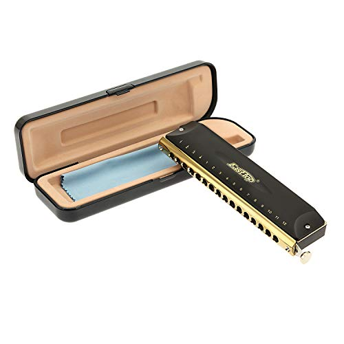 East top 16 Holes 64 Tones Chromatic Harmonica Key of C, Chromatic Mouth Organ Harmonica For Adults, Professionals and Students (BK)