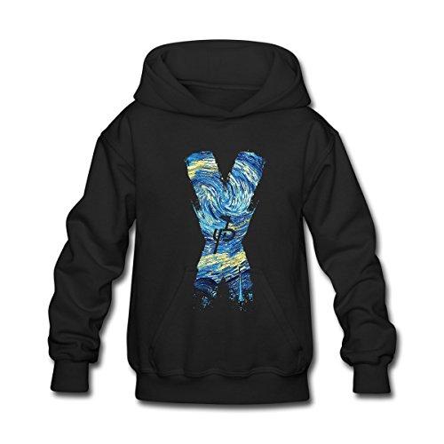 Aliensee Youth Jake Paul X Van Gogh Hoodie Sweatshirt Suitable for 10-15yr Old L Black