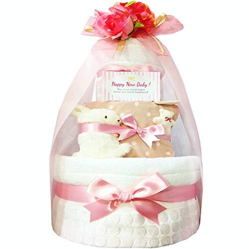 おむつケーキ [ 女の子/今治タオル : オーガニック / 3段 ] パンパース M33枚 (1歳 の 誕生日プレゼント に Mサイズ)4101 ダイパーケーキ 赤ちゃん ベビーシャワー ギフト
