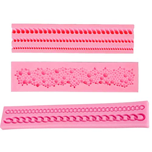 Silicone Fondant Cake Decoration Mould Round Pearls Bubbles Moulds Rope Bead Border Mold Chain Mold Gum Pastry Sugarcraft Chocolate Clay Mould Pack of 3