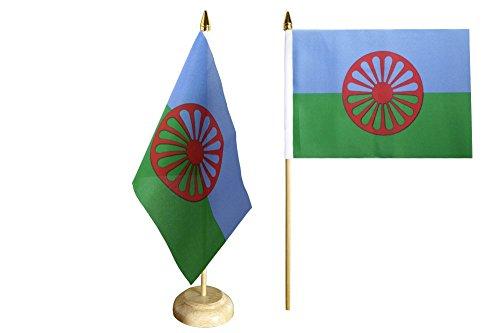 Flaggenfritze Tischflagge/Tischfahne Sinti und Roma + gratis Aufkleber