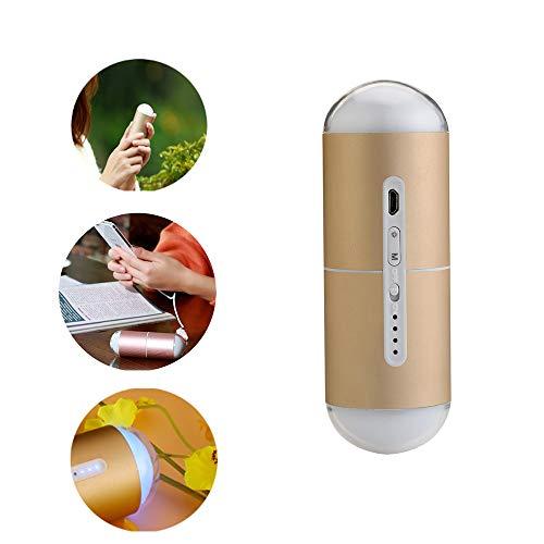 WANZIJING Mini Chauffe-Mains 3 Couleurs avec Capsule Porte-Bonheur - Chargeur Rapide USB 5000 Ah - Double Usage extérieur Double Face - Chauffe-Mains Portable Rechargeable USB - Champagnegold