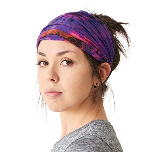 CHARM Tie Dye Stirnband Hippie Elastisch Bandana Kopf Abdeckung Wickeln Für Männer & Frauen Psychedelisch Blume Muster 60'S 70'S Retro Bohemien Boho B