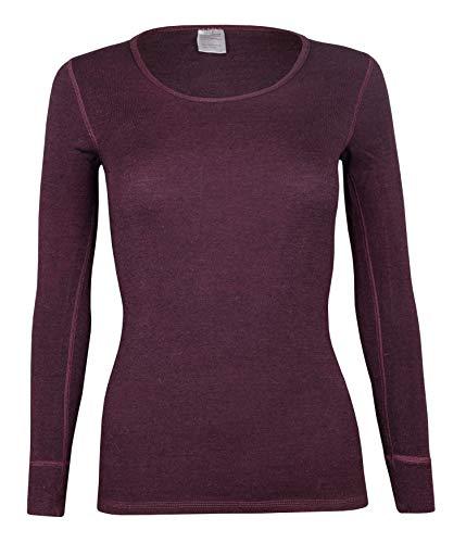 wobera Angora Damen Langarmunterhemd mit 70% Schurwolle und 30% Seide (brombeer, 42/44)