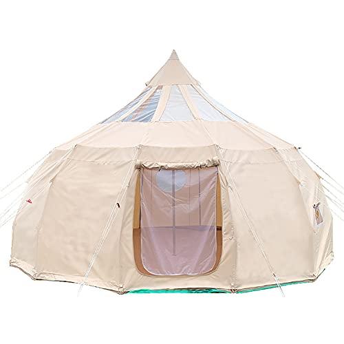 JTYX Tienda de campaña de Lona al Aire Libre 5M Lona / 900D Tienda de Tela Oxford 4 Estaciones de Lujo Tienda de campaña de Lona Grande yurta para Acampar Senderismo Fiesta
