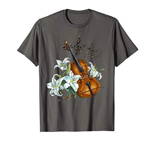 Floral Violin - Lilies Flower T-Shirt