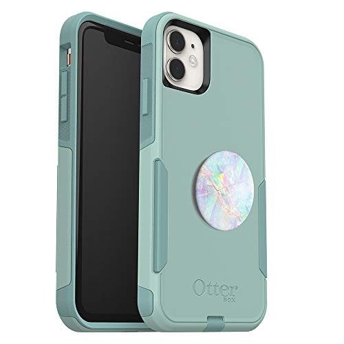 Bundle: OtterBox Commuter Series Case for iPhone 11 - (Mint Way) + PopSockets PopGrip - (Opal)
