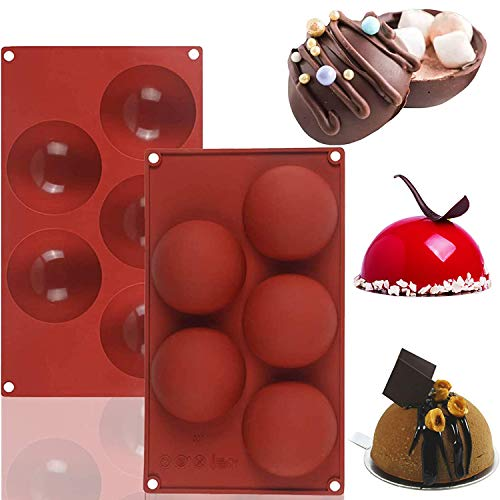 Chocolate Silicone Mold 5-Cavity Semi Sphere Half Sphere Silicone Baking Molds for Christmas and Wedding Cake Decor Making Chocolate, Cake, Jelly, Dome Mousse (Chocolate, Large-5 Cavity-2PC)