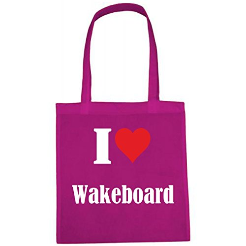 Tas I Love Wakeboard grootte 38x42 kleur roze druk wit