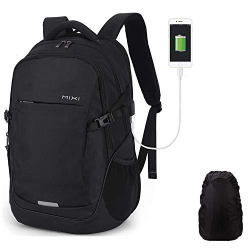Hanke Schulrucksack mit Regenhülle USB-Ladeanschluss 30L Laptop Rucksack für 15,6 Zoll Laptop Reiserucksack Herren Frau Jungen Schule Teenager 19 Zoll Schwarz