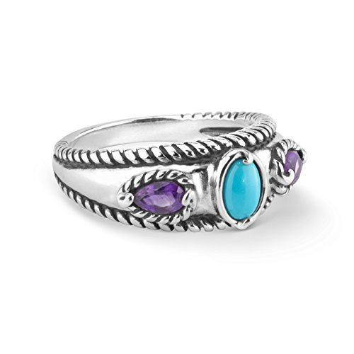 Carolyn Pollack Sterling Silver Sleeping Beauty Turquoise and Amethyst Gemstone Stack Band Ring Size 9