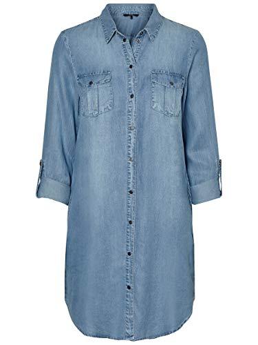 VERO MODA Damen VMSILLA LS Short Dress LT BL NOOS GA Kleid, Light Blue Denim, 42 (Herstellergröße: XL)