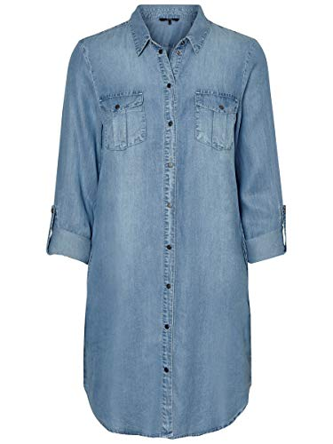 Vero Moda Vmsilla LS Short Dress Lt Bl Noos Ga Vestido, Azul (Light Blue Denim Light Blue Denim), 42 (Talla del Fabricante: Large) para Mujer