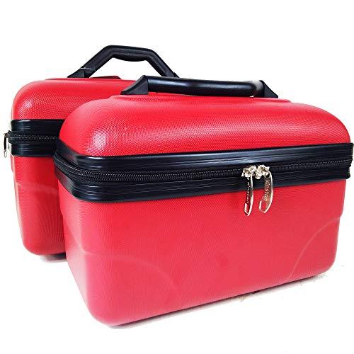 Set de 2 Grands Vanity Cases 10 ET 16L - Pack de Vanity Rigide pour Voyager en beauté (Rouge)
