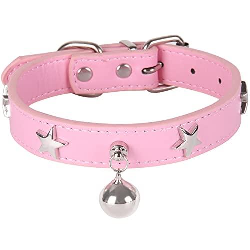 Collar de Cuero para Perros con Pentagrama y Campana, Accesorios para Perros para Perros pequeños, medianos y Grandes, Color Rosa, M