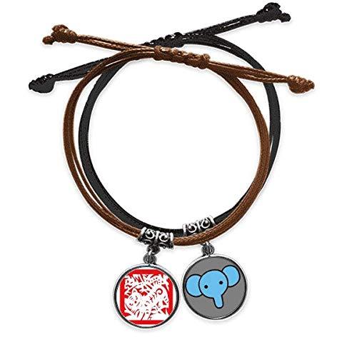 Beauty Gift Pulsera de cuerda de cuero con diseño de tigre de animales de China con forma de zodiaco