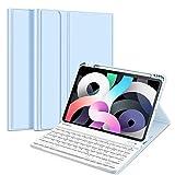 Fintie Tastatur Hülle Kompatibel mit iPad Air 10,9 2020 (4. Gen) Soft TPU Rückseite Gehäuse Schutzhülle mit Pencil Halter, magnetisch Abnehmbarer Bluetooth Tastatur mit QWERTZ Layout, Himmelblau