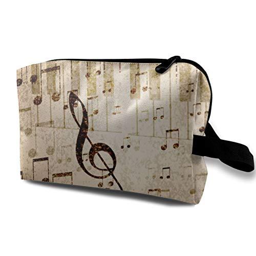 Borsa da viaggio in tela per trucchi, portatile, piccola borsa per cosmetici, per ragazze, donne, uomini, note musicali, pianoforte