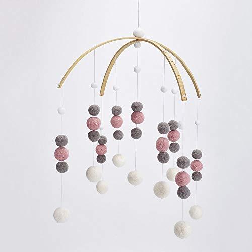 Fayeille Carillons éoliens Home Decor Enfants Chambre Feutre Boule Pendentif Ornement Plafond Mignon(Pink White Grey)