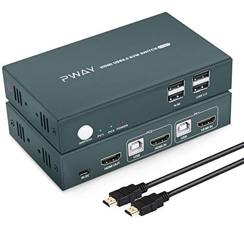 GREATHTEK HDMI KVM Switch USB 2 Port Umschalter 4K, 4K@30Hz,USB2.0, 2 PC 1 Monitor,2 In 1 Out, Hotkey Switch,YUV 4: 4: 4, Ultra HD,Unterstützung Drahtlose Tastatur Und Maus,Mit Kabel