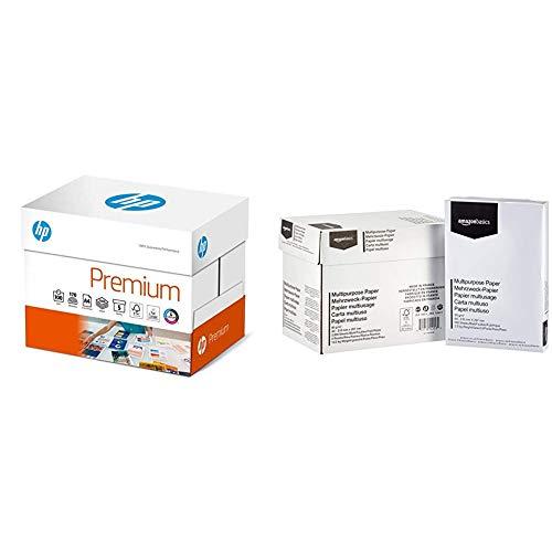 HP Premium Druckerpapier CHP 852-90 g, DIN-A4, 2.500 Blatt (5x500), weiß, Extraglatt & AmazonBasics Druckerpapier, DIN A4, 80 g/m², 5x500 Blatt, Weiß