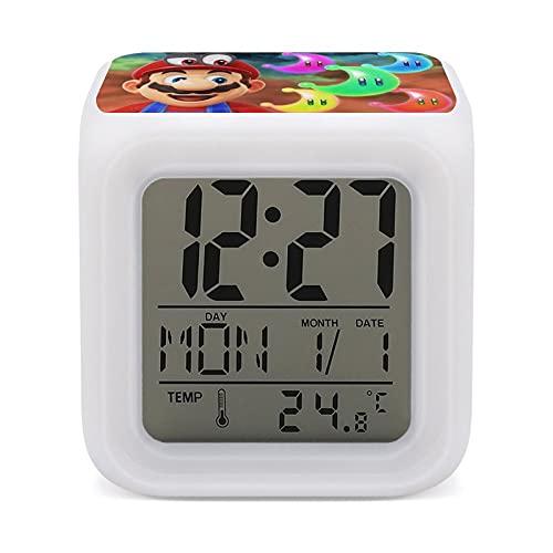 Mari-o - Reloj despertador ligero con función de alarma dual y repetición, luces ambientales en 7 colores, adecuado como regalo, talla única