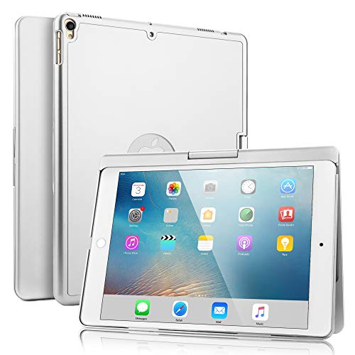 SENGBIRCH iPad Pro 10.5 Teclado Funda, Estuche Rígido con 360 Grados de Inteligente con 7 Colores Retroiluminado Inglés Teclado Bluetooth para iPad Air 3 2019-iPad Pro 10.5 2017, Plata