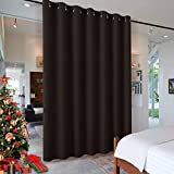 RYB HOME Insulated Wide Curtain Blind Panel, Room Darkening Drape for Bedroom, Noise Reduce Space Partition Divider for Shared Apartment/Beach/Shelves/Storage, W 100 x L 84 inch, Brown, 1 Piece